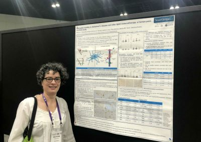 Prof Boche with her poster on microglia activation following ab42 immunization